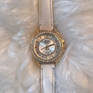 Authentic Coach White leather strap watch